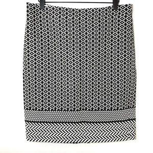 J Crew Chevron Pencil Skirt Black White Cotton 10